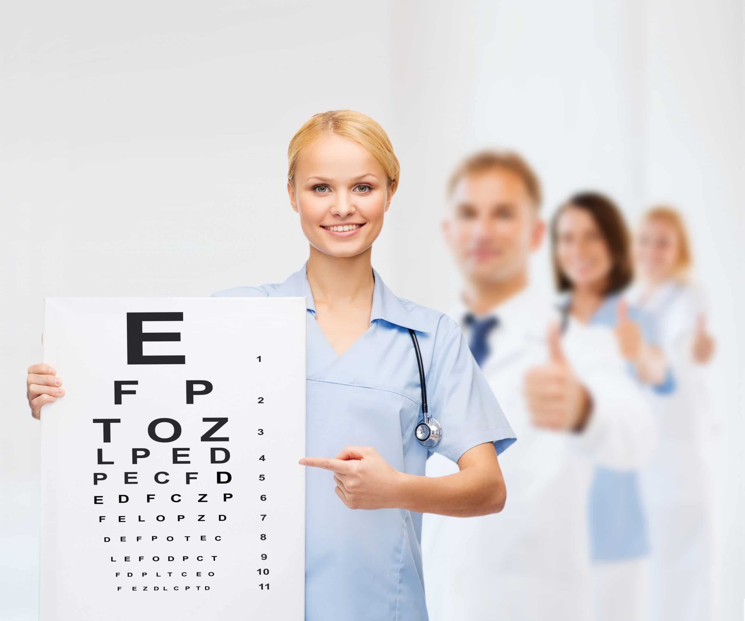 smiling female doctor or nurse with eye chart – 2020tulsa